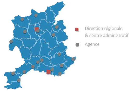 Carte des agences Brinks Sud Est